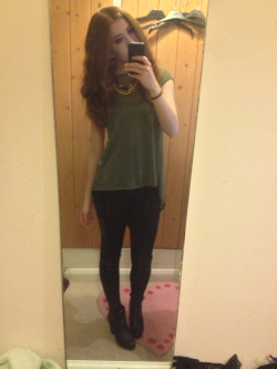 What I wore today Green chiffon dropped hem top, leather panel trousers, heeled chelsea boots, vintage gold chain necklace