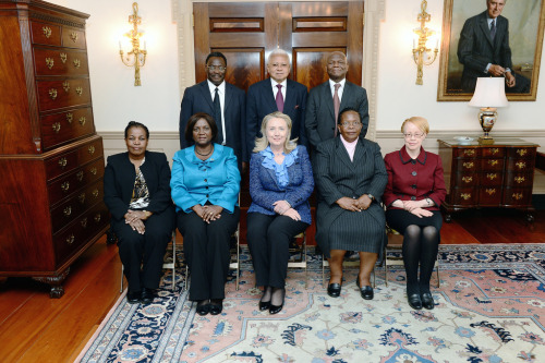 U.S. Secretary of State Hillary Rodham Clinton meets with African Court Justices at the U.S. Department of State in Washington, D.C., October 23, 2012. [State Department photo/ Public Domain]