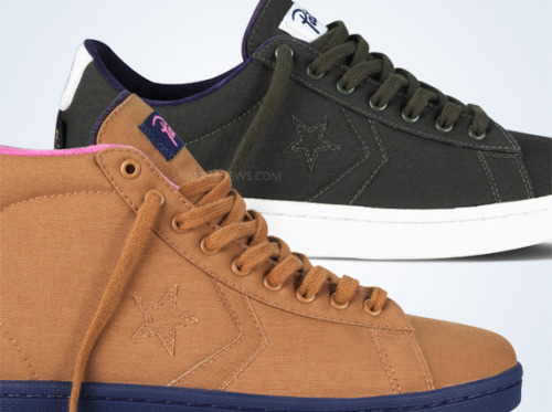 Patta x Converse First String Pro Leather a low and high Pro Leather coming in nylon uppers in some clean colourblocking. Brown uppers with Pink/Purple for the Pro Leather High and Green with Purple accents for the Low. click here for more pics Related articles Patta x Converse First String Pro Leather Pack (highsnobiety.com)