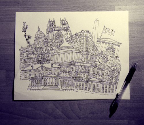 New pen and ink illustration created for an upcoming Washington, D.C. themed art print.