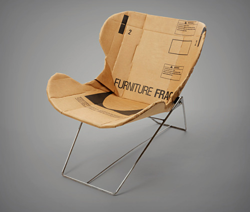 sanctuous:  project  Re-Ply chair  The Re-Ply chair uses discarded cardboard affixed to a base with nothing more than a pair of bolts. There are going to be a number of options available for coverings, logos and base colors. Support it on Kickstarter.