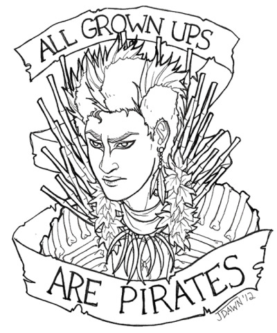 spookywhoooore:  I had a bad morning, but drawing a Rufio tattoo design made me feel a lot better.x  pretty sick… plus i love the kanaya cosplay…