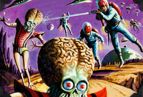 "Illustration by Norman Saunders, Wally Wood, and Bob Powell for Mars Attacks! Trading Card #48 ""Earthmen Land on Mars"" (1962)"