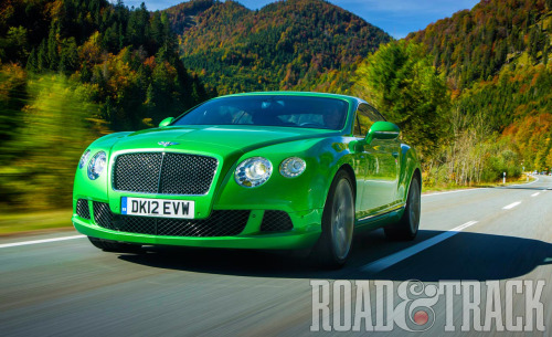 The 2013 Bentley Continental GT Speed, the fastest-ever production Bentley, hits the showrooms next year with 616 bhp, 590 lb.-ft., and 205 mph top speed. (Source: Road & Track)