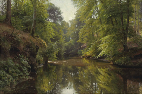 Peder Mørk Mønsted (1859-1941) Wooded river lanscape, 1913