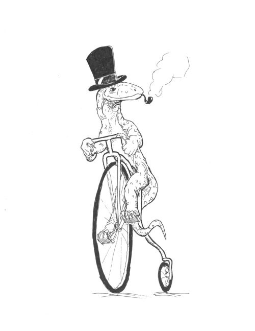 Goanna on a bike with a hat.