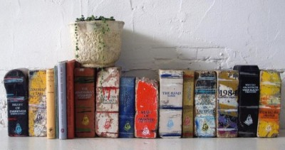 We'd be okay with you using these to hold up a shelf or window.  scribnerbooks:  Bricks made into books. Beautiful.