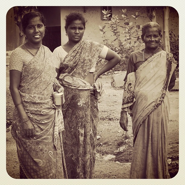 Three Women (Leica DL5 w/IG EB) #100cameras #ngo #004India #humanitarian #India #leicacameras #sari #portraits #travel #women (at Madurai, India)