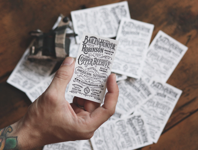 typeverything:  Business cards for Expert Americana Tattooing by Two Arms Inc.
