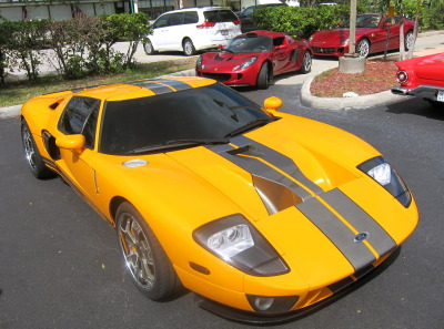 One-off Orange Ford GT at Sarasota Cafe Racers lunch today, Sarasota, FL.