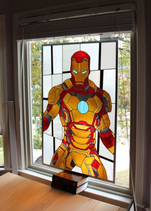 iheartchaos:  Well check out this fucking amazing Iron Man stained glass Made by Martian Glass Works Via