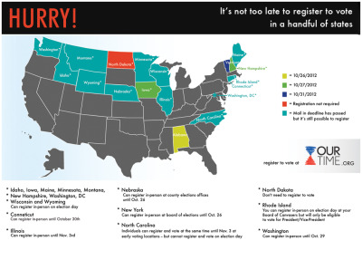 It's still possible to register to vote in nineteen states! (via Our Time)