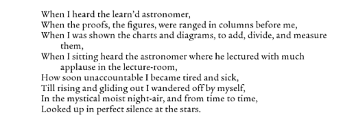 "aseaofquotes:  Walt Whitman, ""When I Heard the Learn'd Astronomer"""