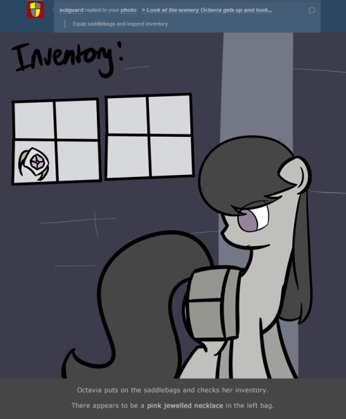> Equip saddlebags and inspect inventory.  Octavia puts on the saddlebags and checks her inventory. There appears to be a pink jewelled necklace in the left bag.