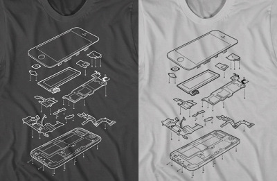 laughingsquid:  Exploded Phone 5, T-Shirt Design Shows an Internal View of the iPhone 5
