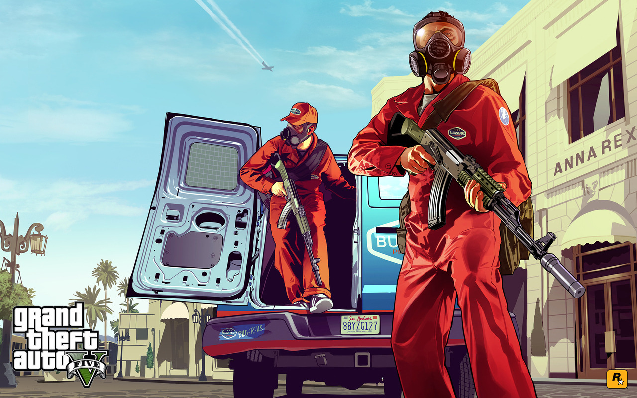 Rockstar North have released this sweet piece of Grand Theft Auto V art. The game is set to be on the Gameinformer cover, so expect a massive blowout soon. The image is in traditional GTA art and shows a scene from the debut trailer.
