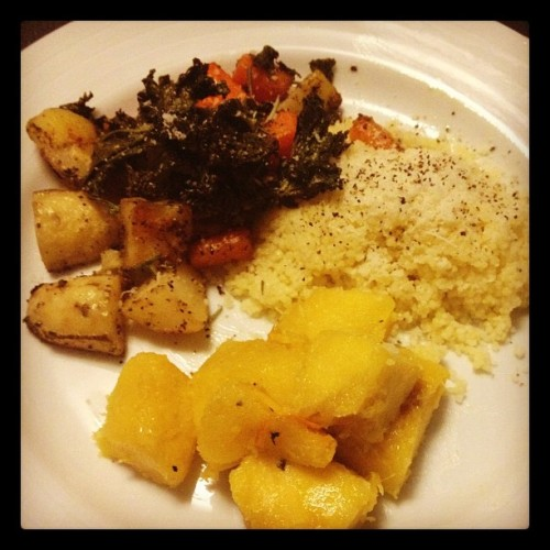 Fall veggie dinner: roasted kale/potatoes/carrots; Cous Cous; acorn squash. Making that #csa count!