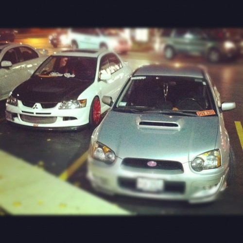 AWD frienemies. #trpcrew #wrx #evolution #jdm @hoyitsrich