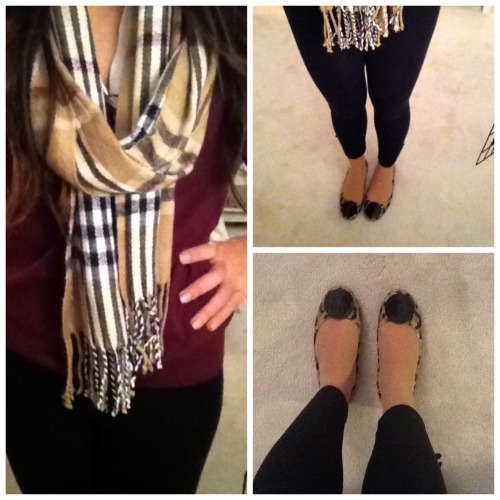 OOTD! Pullover- J.Crew Blouse- Loft (You can't really see it, it's just a plain white blouse under my pullover) Scarf- Pierre Cardin Leggings- TJMaxx Shoes- Libby Edelman