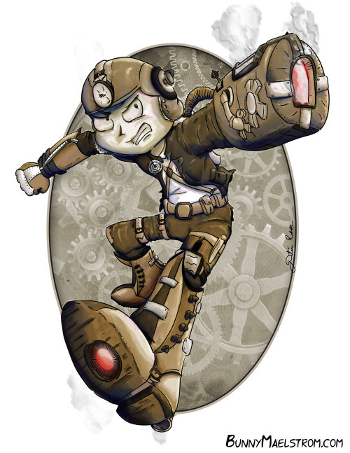 videogamenostalgia:  Steampunk Mega Man by BunnyMaelstrom available for $5 on Etsy as a cardstock print. (via: thechief0)