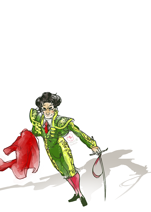 Doodle: MATADOR! I am so overwhelmed at the moment, so I wanted to draw a man in tight pants. Thus came a matador. ♥
