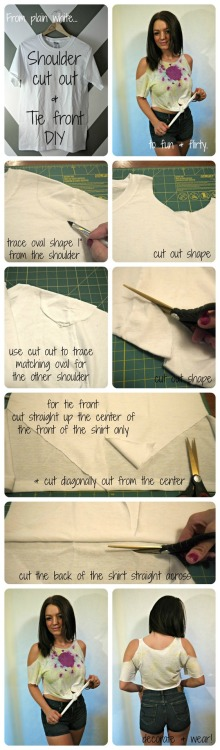 CUT IT OUT: CUT OUT SHOULDERS DIY This DIY shows how to turn a plain white T-shirt into a fun & flirty cropped tie front top with cut out shoulders.  http://thecarbonmagazine.com/2012/10/cut-out-shoulders-diy/