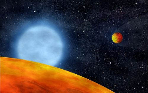 Massive Planets Might Escape Stellar Engulfment Largely Undiminished  Image: Artist's conception of the planets orbiting KIC 05807616. Credit: S. Charpinet  Having your planet swallowed by a star is no fun. But some planets might be able to run the astrophysical gauntlet and make it through more or less intact.  When a star comparable to or somewhat larger than the sun enters advanced age, it swells up into a red giant, expanding far beyond its original radius. In the process, the star's ballooning atmosphere will consume any nearby planets—such is the fate awaiting the planets of the inner solar system, Earth most likely included.  Mercury, Venus and Earth are all too small to endure engulfment, and will quickly spiral in toward the sun due to drag forces from the surrounding stellar atmosphere. Larger planets or substellar objects called brown dwarfs, however, can actually dispel the star's bloated exterior and survive. But they may emerge somewhat worse for wear. The density of a star's expanded atmosphere can strip away the outer layers of an orbiting planet, so what comes out may be very different from what went in.  A new study by Jean-Claude Passy of the American Museum of Natural History in New York City and the University of Victoria in British Columbia and his colleagues in the Astrophysical Journal Letters seeks to uncover what a handful of engulfment survivors may have looked like before their close encounter with a star.  Full Article