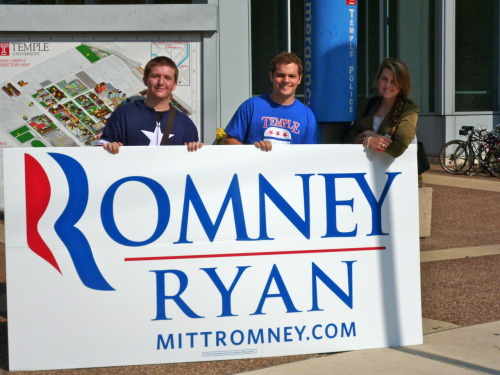 Temple University College Republicans promoted the Romney-Ryan ticket on campus this Wednesday. For the past week, they have displayed their super-size sign at various high-traffic locations on campus. Because the surrounding North Philadelphia community overwhelmingly supports President Obama's reelection campaign, this is one of few pro-Romney signs Temple students will likely come across before the election. Yards are dotted blue with Obama-Biden signs in the residential blocks encircling Temple's main campus. At Temple University, the College Republicans are far outnumbered by their Democratic counterparts, but the enormity of this sign seems to be helping them effectively spread their message with fewer members.