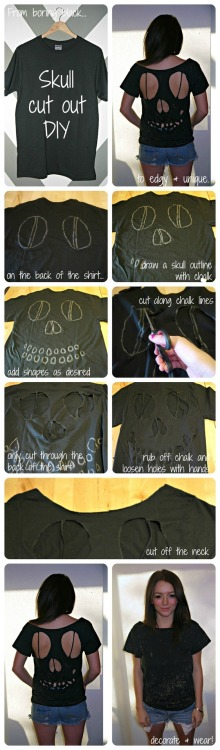 CUT IT OUT: SKULL CUT OUT DIY he skull tee is without a doubt the biggest trend for October and fall. We love the edginess of this design and how expensive the end result looks http://thecarbonmagazine.com/2012/10/skull-cut-out-diy/