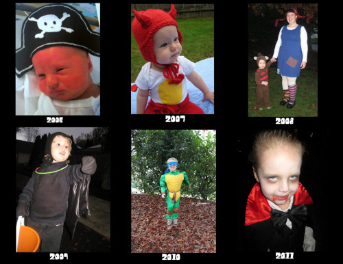 Only fair to post Bailey's Halloween costumes. In 2006 he was due around Thanksgiving but came mid October. So he was still in the NICU for his first Halloween. I made him the teeniest, tiniest little pirate hat. 2007- Deviled Egg. 2008- He was Mr. Nielson to my Pippi Longstocking. 2009- A bat. 2010- Teenage Mutant Ninja Turtle. 2011- Vampire. This year he wants to be Captain America. Another store bought costume. Sigh.