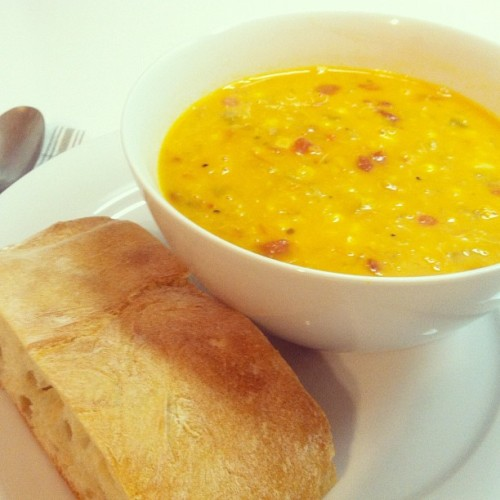 Showing my orange with some crab & corn chowder as I watch the Giants kick Detroit's butt in Game 1 of the World Series. Go Giants!
