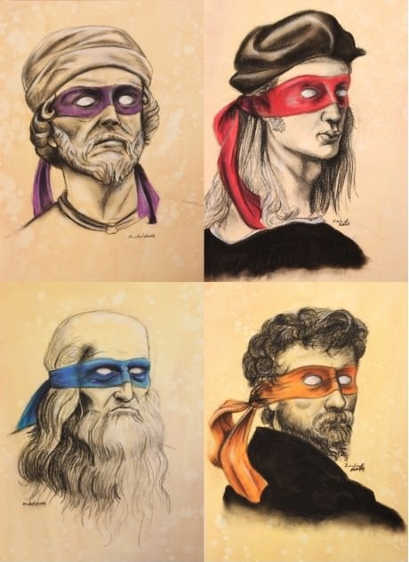 the-absolute-funniest-posts:  ohfuckinhell: Michaelangelo, Raphael, Donatello y Leonardo Follow this blog, you'll love it on your dashboard!