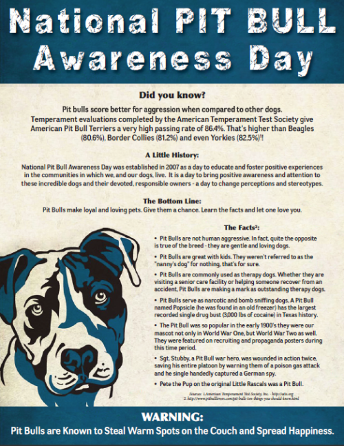 handsomedogs:  Today is National Pit Bull Awareness Day!