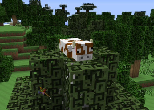 minecraft-mobs-in-odd-places:   Cow? Why are you hanging out in a tree? (The texture pack is the Love and Tolerance texture pack)  i find it an ideal place to focus as i ponder the abnormalities of my existence such as  how my eyes always point in the same direction  even when i stand on my head it's unsettling this burden of knowledge  My sides have been launched clear into the exosphere