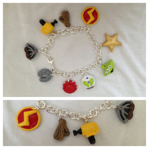 A Pixar-themed bracelet! A Toy Story and Cars combo made for an anniversary present :)   http://www.etsy.com/shop/littleloveinc