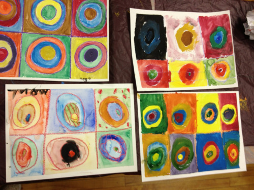 Kandinsky inspired watercolor lesson last night was so fun!!