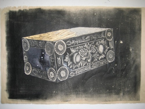 "Yashua Klos Untitled, 2012. Woodblock print on rice paper; 37"" x 25""."