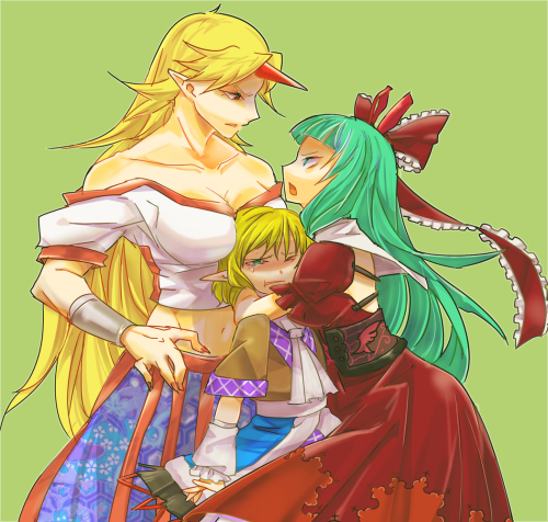 Yuugi and Hina fight over Parsee.  Careful there, Hina… Yuugi will headbutt you into submission.  By sisenshyo.