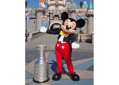 Gretzky once called the NJ Devils a Mickey Mouse organization. Years later NJ loses to LA in the Finals and Mickey Mouse gets to have his picture taken with the Cup.  Thanks to Disney for the photo http://disneyparks.disney.go.com/blog/2012/10/the-stanley-cup-visits-disneyland-park/