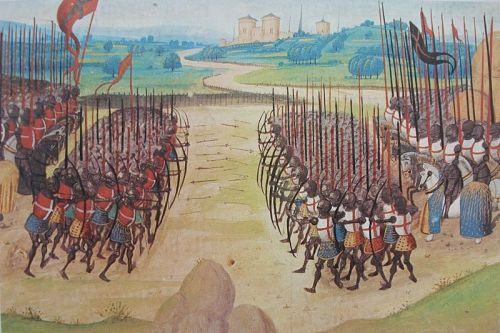 Bataille d'Azincourt @credits   The Battle of Agincourt was a major English victory against a numerically superior French army in the Hundred Years' War. The battle occurred on Friday, 25 October 1415 (Saint Crispin's Day), near modern-day Azincourt, in northern France. Henry V's victory crippled France and started a new period in the war, during which, first, Henry married the French king's daughter and, second, his son, Henry VI, was made heir to the throne of France (although Henry VI later failed to capitalise on his father's battlefield success).  Henry V led his troops into battle and participated in hand-to-hand fighting. The French king of the time, Charles VI, did not command the French army himself as he suffered from severe, repeating illnesses and moderate mental incapacitation. Instead, the French were commanded by Constable Charles d'Albret and various prominent French noblemen of the Armagnac party. The battle is notable for the use of the English longbow, which Henry used in very large numbers, with English and Welsh archers forming most of his army.