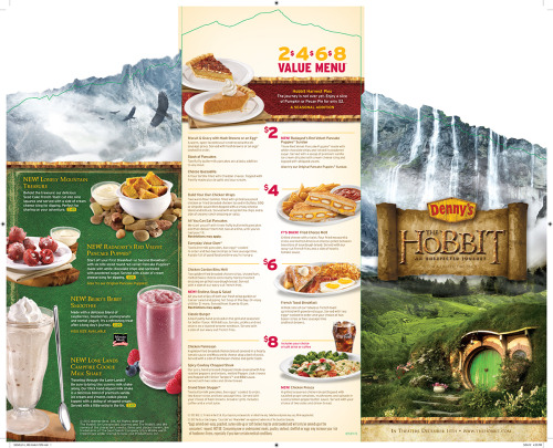 Here is a look at the Denny's Hobbit Inspired Menu  Starting November 6, 2012
