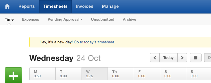 Harvest - When you leave a tab open on today's timesheet and return to that tab the next day, it warns you that it's a new day and provides a link to the new timesheet. /via Mark van Lent