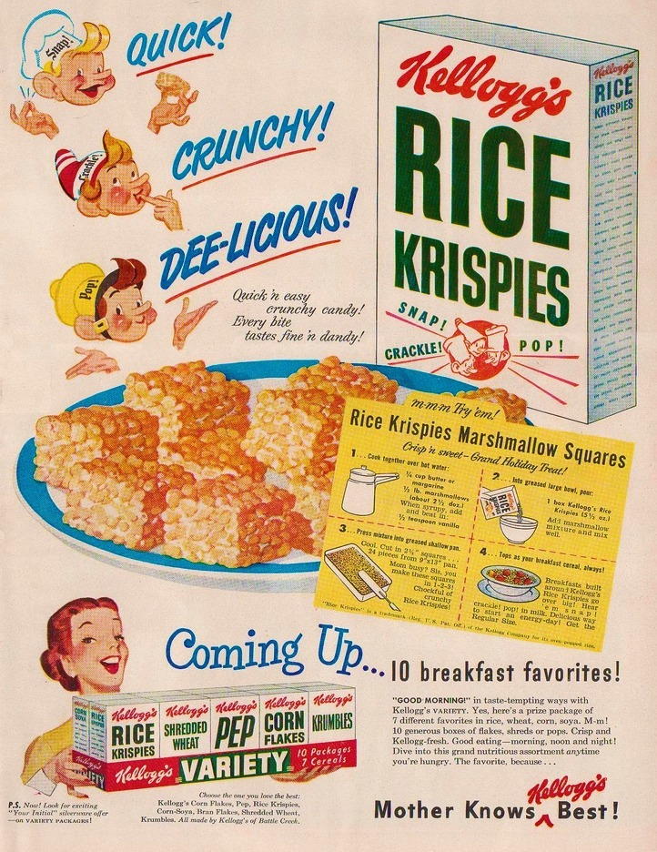 Kellogs Rice Krispies and Rice Krispie Treats, 1950s