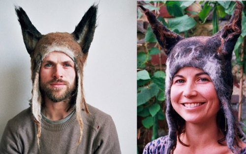 nightsinneon:  Barbara Keal makes unusual felt hats, perfect for cold winter mornings and pagan orgies.