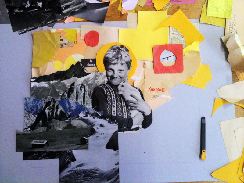 we're working on our first collaborative collages for a group show.