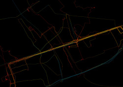 Summer in the city. Visualizing personal GPS data from a few warm days in summer in Warsaw. Color according to speed.