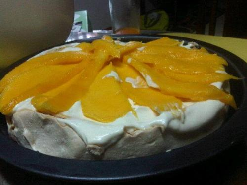Pavlova (recipe) So far, this has been the dessert that I keep on making. The crispy, outer layer of the meringue, together with the marshmallow-like belly of the Pavlova makes this dessert a hit in our home. I usually top it with tangy mangoes and whipped cream to have a nice contrast against the intensely sweet meringue. The recipe was also super easy because the ingredients in the recipe are only egg whites, sugar, and other pantry staples. So try making this baked treat at home!