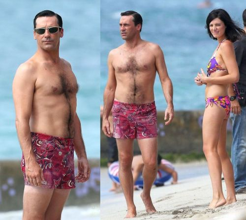 Jon Hamm and Jessica Paré are filming scenes for Mad Men on the beach in Maui, Hawaii.