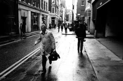 Man running in Soho, London 2006