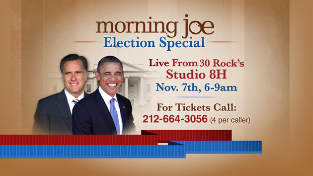 From Morning Joe: November 6th, of course, is Election Day, and Morning Joe will be live at Studio 8H the following day to discuss the results. If you wish to be a member of the audience, please call 212-664-3056. Good luck and we'll see you live on Nov. 7th at 6 a.m.